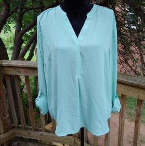 The Limited Long Sleeve Aqua Blouse